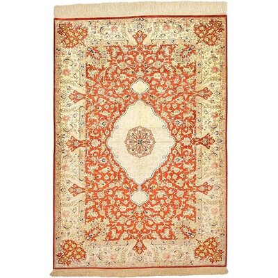 One-of-a-Kind Wollano Traditional Persian Hand Woven Silk Rectangle Rust Red Area Rug