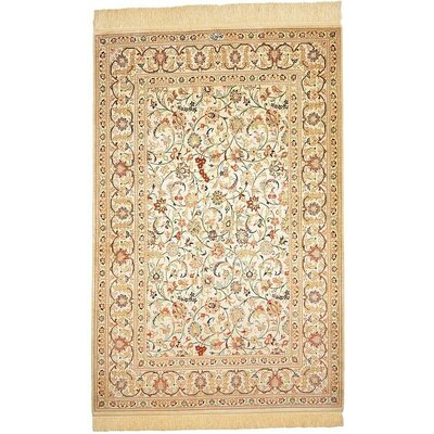 One-of-a-Kind Wollano Fade Resistant Persian Hand Woven Silk Rectangle Cream Area Rug with Fringe