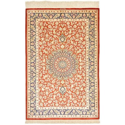 One-of-a-Kind Wollano Persian Hand Woven 100% Silk Rectangle Rust Red Area Rug