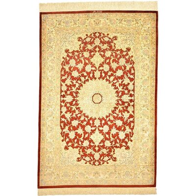 One-of-a-Kind Wollano Persian Hand Woven Silk Rectangle Rust Red Area Rug