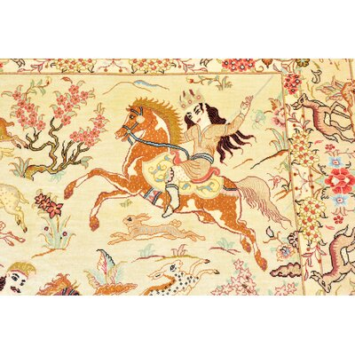 One-of-a-Kind Wollano Fade/Stain-resistant Persian Hand Woven Silk Rectangle Cream Area Rug