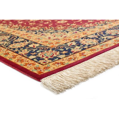 One-of-a-Kind Wollano Persian Hand Woven Rectangle Silk Red Oriental Area Rug