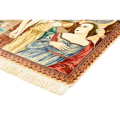 One-of-a-Kind Bellingdon Traditional Persian Hand Woven Silk Rectangle Cream Area Rug