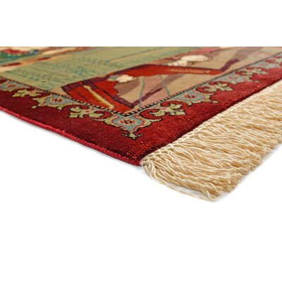 One-of-a-Kind Donlon Persian Hand Woven Silk Cream Area Rug