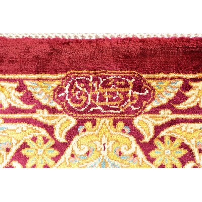 One-of-a-Kind Wollano Traditional Persian Hand Woven Silk Burgundy Area Rug