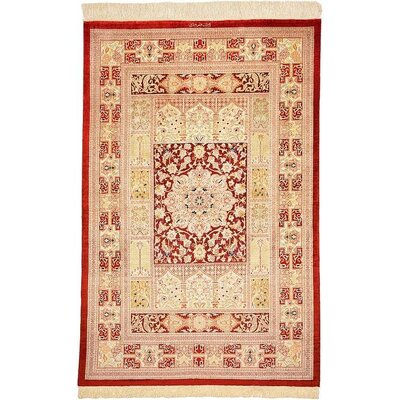 One-of-a-Kind Wollano Traditional Stain-resistant Persian Hand Woven Silk Rust Red Area Rug