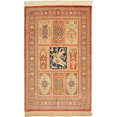 One-of-a-Kind Wollano Traditional Persian Hand Woven Silk Rectangle Cream Area Rug