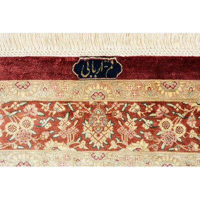 One-of-a-Kind Wollano Persian Hand Woven Silk Navy Blue Oriental Area Rug