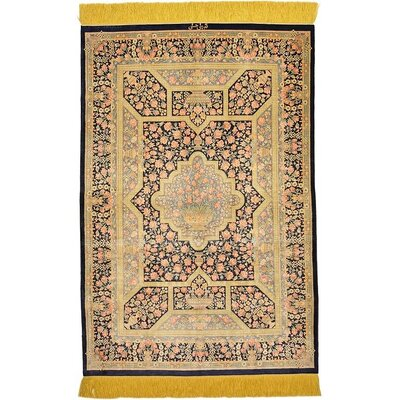 One-of-a-Kind Wollano Traditional Persian Hand Woven Silk Navy Blue Area Rug