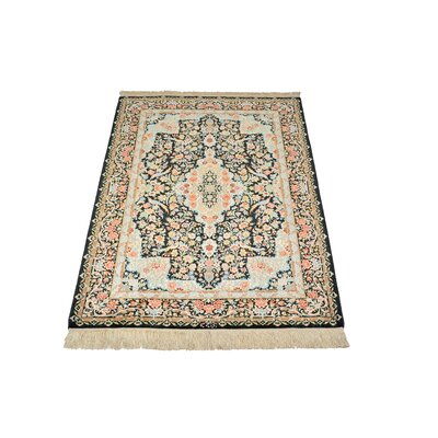 One-of-a-Kind Wollano Traditional Persian Hand Woven Silk Rectangle Navy Blue Area Rug