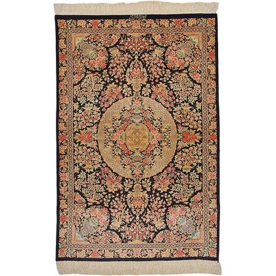 One-of-a-Kind Wollano Persian Hand Woven Silk Rectangle Black Oriental Area Rug