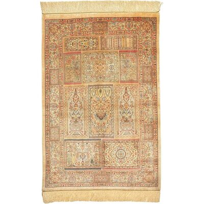 One-of-a-Kind Wollano Persian Hand Woven Silk Rectangle Cream Border Area Rug