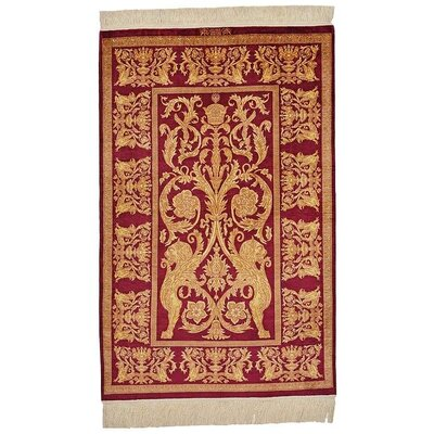 One-of-a-Kind Wollano Traditional Persian Hand Woven Silk Burgundy Oriental Area Rug