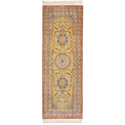 One-of-a-Kind Wollano Traditional Persian Runner Hand Woven Silk Gold Area Rug