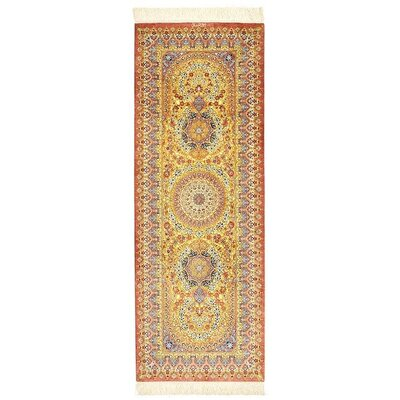 One-of-a-Kind Wollano Persian Runner Hand Woven Silk Gold Area Rug
