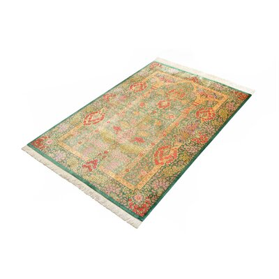 One-of-a-Kind Wollano Traditional Persian Hand Woven Silk Hunter Green Area Rug