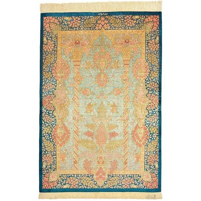 One-of-a-Kind Wollano Persian Hand Woven Silk Light Blue/Beige Area Rug