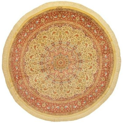 One-of-a-Kind Wollano Traditional Persian Round Hand Woven Silk Cream Area Rug