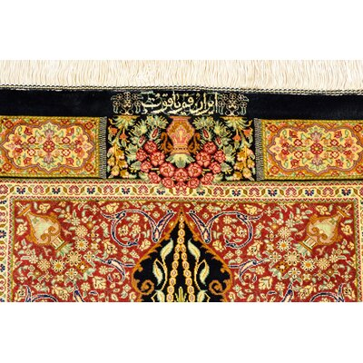 One-of-a-Kind Wollano Traditional Persian Runner Hand Woven Silk Black Area Rug