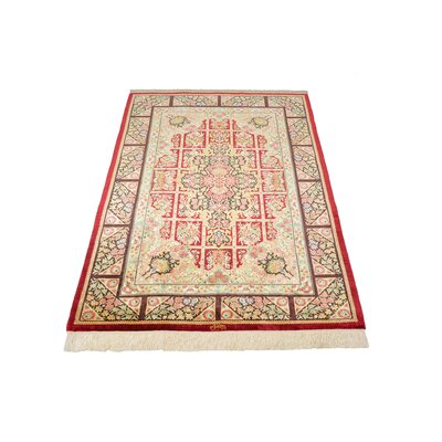 One-of-a-Kind Wollano Persian Hand Woven Silk Cream Oriental Area Rug with Fringe