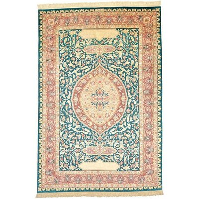 One-of-a-Kind Wollano Persian Hand Woven Silk Sage Green Area Rug