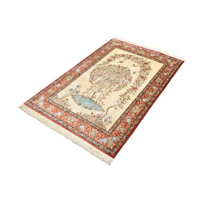 One-of-a-Kind Wollano Traditional Persian Hand Woven Silk Cream Oriental Area Rug