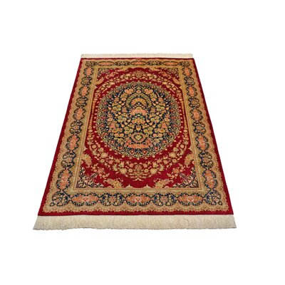 One-of-a-Kind Wollano Persian Hand Woven Silk Rectangle Red Area Rug