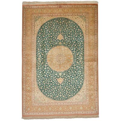 One-of-a-Kind Wollano Persian Hand Knotted Silk Green Area Rug