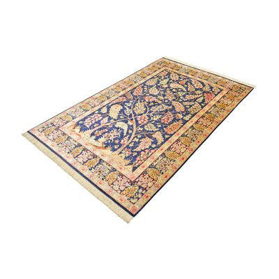 One-of-a-Kind Wollano Persian Hand Woven Silk Rectangle Navy Blue Oriental Area Rug