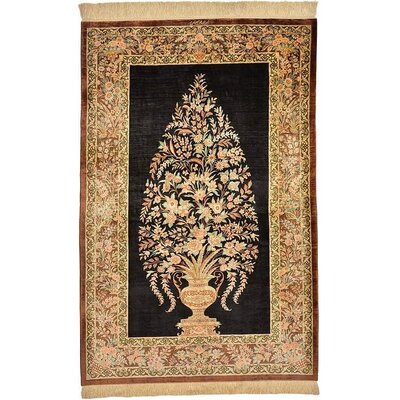 One-of-a-Kind Wollano Traditional Persian Hand Woven 100% Silk Rectangle Black Oriental Area Rug