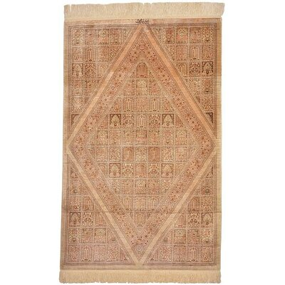 One-of-a-Kind Wollano Persian Hand Woven 100% Silk Beige Area Rug