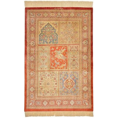 One-of-a-Kind Wollano Persian Hand Woven Silk Rectangle Orange Area Rug