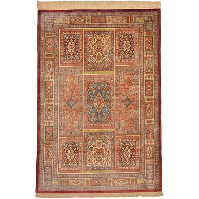One-of-a-Kind Wollano Persian Hand Woven 100% Silk Burgundy Oriental Area Rug