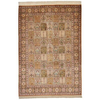 One-of-a-Kind Wollano Stain-resistant Persian Hand Woven 100% Silk Cream Area Rug