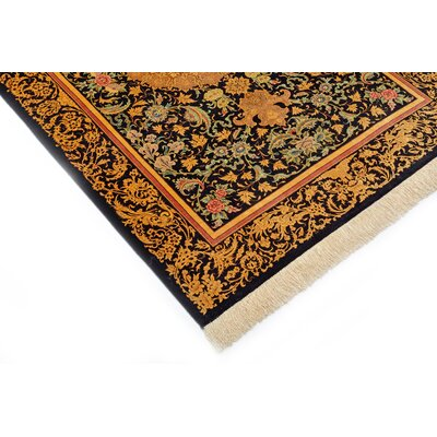 One-of-a-Kind Wollano Persian Hand Woven Silk Black Area Rug with Fringe