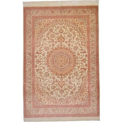 One-of-a-Kind Wollano Persian Hand Woven 100% Silk Cream Border Area Rug