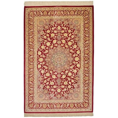 One-of-a-Kind Wollano Traditional Persian Hand Woven Silk Rectangle Red Area Rug