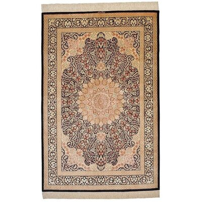 One-of-a-Kind Wollano Traditional Persian Hand Woven Silk Cream Area Rug with Fringe