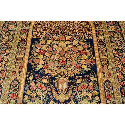 One-of-a-Kind Wollano Stain-resistant Persian Hand Knotted Silk Navy Blue Area Rug