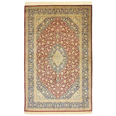 One-of-a-Kind Wollano Stain-resistant Persian Hand Woven 100% Silk Rust Red Area Rug