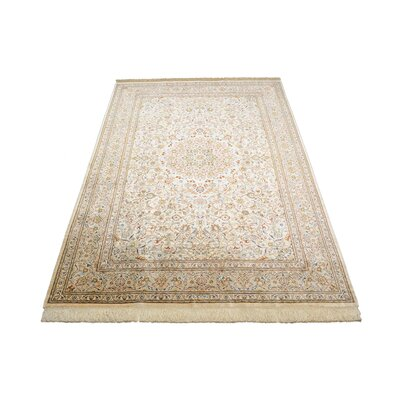 One-of-a-Kind Bellingdon Traditional Persian Hand Woven Silk Cream Area Rug