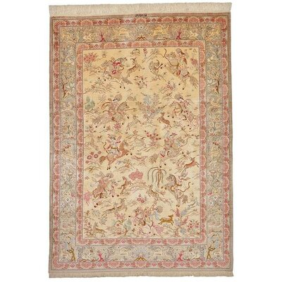 One-of-a-Kind Wollano Fade Resistant Persian Hand Woven Silk Cream Area Rug with Fringe