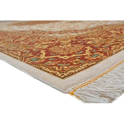 One-of-a-Kind Wollano Traditional Stain-resistant Persian Hand Woven Silk Cream Area Rug