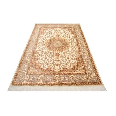 One-of-a-Kind Wollano Traditional Fade Resistant Persian Hand Woven Silk Cream Area Rug