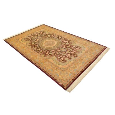 One-of-a-Kind Wollano Traditional Persian Hand Woven Silk Cream Border Area Rug