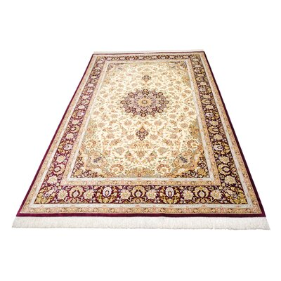 One-of-a-Kind Wollano Stain-resistant Persian Hand Woven Silk Cream Border Area Rug