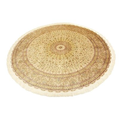 One-of-a-Kind Wollano Persian Round Hand Woven Silk Cream Oriental Area Rug