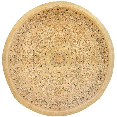 One-of-a-Kind Wollano Traditional Persian Round Hand Woven Silk Cream Oriental Area Rug