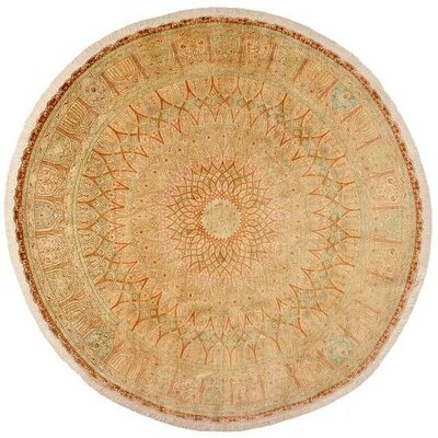 One-of-a-Kind Wollano Persian Round Hand Woven Silk Cream Area Rug with Fringe
