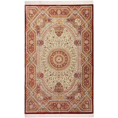 One-of-a-Kind Wollano Stain-resistant Persian Hand Woven Silk Rectangle Cream Border Area Rug